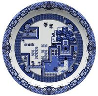 zelda based on the blue willow pattern