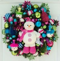 Pink Snowman Christmas Wreath