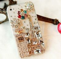 New Bling Sparkle Eiffel Tower Perfume Bottle Flowers iPhone 4/4S Case