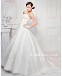 Princess Strapless Tulle Lace Ball Gown Wedding Dress