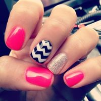 Pink, silver, black chevron glitter nails.