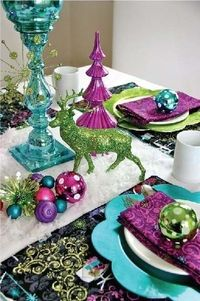 Christmas table setting in non-traditional colors