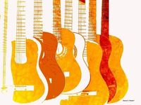 Orange and Mustard Yellow Guitars
