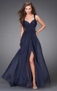 navy sheer ruched long prom dress