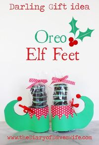 Totally fun for gift giving! the Diary of Daves Wife: Oreo Elf Feet with Free Printable Pattern