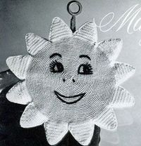Sweet Daisy Potholder~ Looks alot like the sun we used to draw up in the corner of the page in first grade! lol
