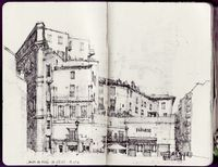 Campo de Fiori 18-19h; Roma, Italia, August 2003 (drawing by Stephan Zimmerli, erasable ballpoint pen on paper)
