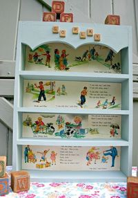 From Tossed Shelf to Top Shelf - how to refinish a shelf with vintage children's book pages.