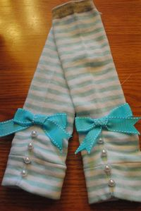 Baby, Toddler, or Child Pearl and Ribbon Legwarmers. $15.50, via Etsy.