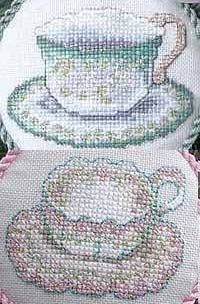 Teacups For Two - another free cross stitch pattern from Kreinik