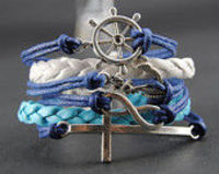 Hand Chain Anchor bracelet - cross bracelet,antique silver Sapphire blue Wax Cords Blue and White Braided L
