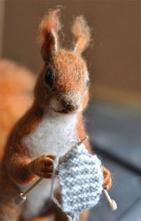 Adorable! Felted Knitting Squirrel