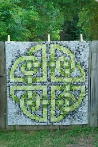 Celtic Knot quilt made from a free cross stitch design. Good lustrous effect created in this design.