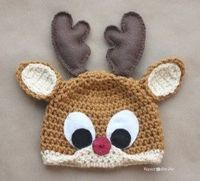 {Free} Rudolph the Reindeer Hat Crochet Pattern.