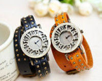 6 Colors,rivet double wrap leather wrist watch,wrist watch for boys and girls,hanmade watch bracelet,vintage wrist