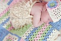 """Bobbles and Grannies"" blanket with matching hat I made for Baby Elle. Picture by Tyra Andrews Photography."