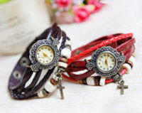 5 Colors Retro Quartz Fashion Watch, Weave Wrap Black Leather Watch, Cross Pendant Bracelet Watch,Girl Watch l