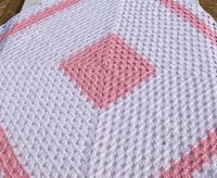 Baby Girl Afghan in Pink and White Granny Square