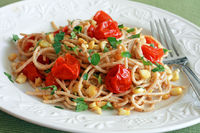 Spaghetti with Roasted Corn and Cherry Tomatoes