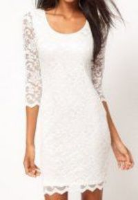 Round Neck White Half Sleeve Embroidery Lace Dress