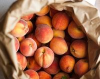 Peaches! My favourite combo is roasted peaches and ricotta cheese bread.