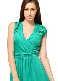 voile women's dress in green color, look extra ordinary, comfort, high quality fabric, fashionable