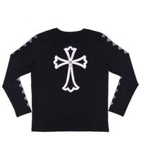 Big White Leather Cross Chrome Hearts Black T-shirt