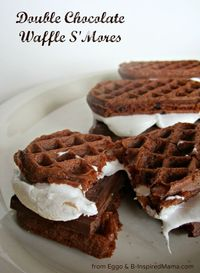 Try this fun alternative to the tradition smore: Double Chocolate Waffle SMores using chocolatey Eggo waffles! Find the recipe at B-InspiredMama.com.