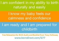 Example of the affirmations available with the FREE accompanying PDF you get with the free hypnosis for childbirth downloads.