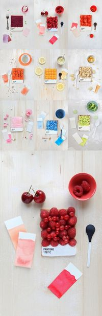 pantone. french food designer emilie de griottes developed dessert tarts that recreate pantone colour swatches. berries, carrots, lemon, candies, and other foods are arranged upon a tart base, whose bottom is iced in white and marked with the pantone colo...