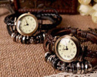 Braid Leather Wrap Around Watch,Metal Beaded Watch Bracelet,Vintage Leather Charm Wrist Strap Watch,Punk Style Le