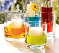 Colored water with candles or flowers