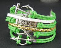 Green wax ropes bracelet,Infinity anchor love arrow bracelet,Antique silver bracelet, adjustable bracelet, Christmas