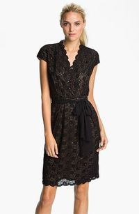 Alex Evenings Scalloped Lace Surplice Dress | Nordstrom