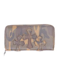 Chrome Hearts Fzip Leather 3 Cross Camouflage Wallet