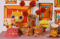 """love the brown bag holders! """"Monster Fest"""" Adorable for a kid Halloween party!"""