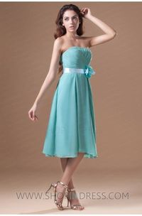 A-line Strapless Knee Length Chiffon Green Bridesmaid Dress with Floral