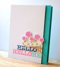 Floral Hello Card by Cristina Kowalczyk for Papertrey Ink (March 2013)