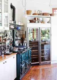 My kinda kitchen....look at that wine fridge!
