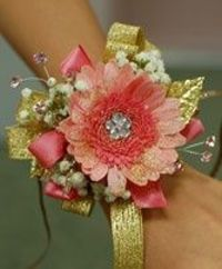 Pink & Gold Daisy Prom Corsage Prom Corsage in Klamath Falls, OR | BOTANICA CREATIONS