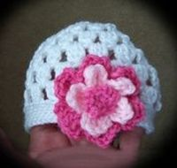 Baby Beanie with Flower free crochet pattern