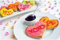 Conversation heart toast - so easy! Just use natural food coloring and a good knife.