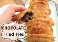 "Chocolate Fried Pies 2C APF 1t salt 1/2C shortening /2C milk vegetable oil for frying FILLING--2C sugar 6T unsweetened cocoa 1 stick butter melt Make dough Divide in 10 ball Stir together butter cocoa& sugar til forms a paste Pour 1/4"" oil in ..."