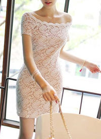 Ruffle Boat Neck Bodycon Dress With Lace Details