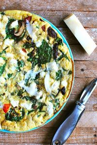 Spinach, Mushroom and Red Bell Pepper Frittata