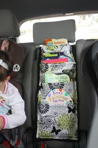 """A """"bookcase"""" for the car - genius! Could use it for toys and snacks too!"""