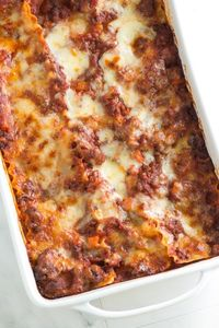 Cheesy Sausage and Beef Lasagna with Ricotta, Parmigiano Reggiano, and Mozzarella