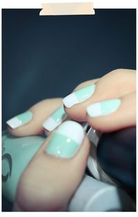 Tiffany blue & white halfway nails