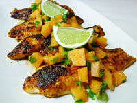 Blackened Catfish with Cantaloupe Salsa