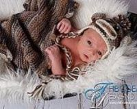 Newborn baby sock monkey photo prop camo hat
